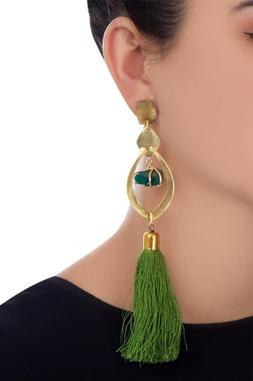 Green tasseled dangler earrings