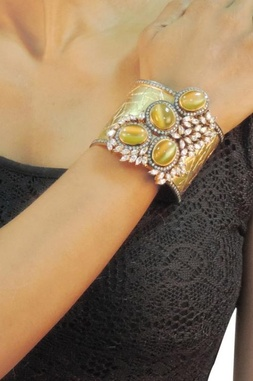 Gold plated & olive dimante studded cuff