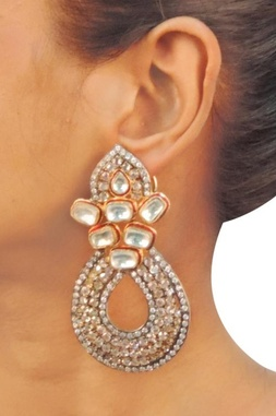 Silver  dimante & crystal studded teardrop earrings