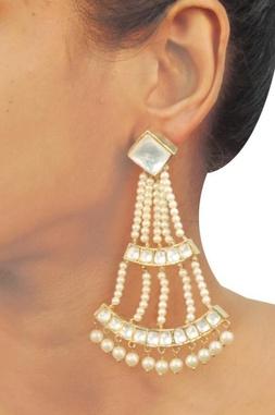 Gold & silver crystal pearl earrings