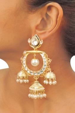 Gold plated pearl & crystal  triple jhumkas