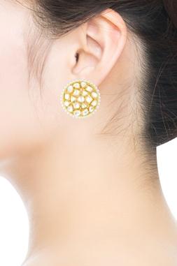 Gold kundan & pearl embellished studs