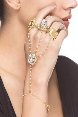 Gold plated hand harness with pearl embellishments
