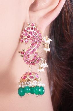 Green & pink studded jhumkas