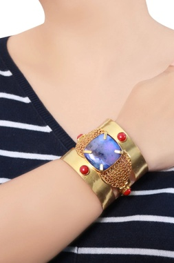 Gold plated victorian stone cuff