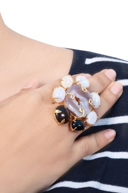 Gold plated ivory & purple stone floral ring