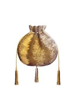 Gold bead embroidered potli clutch