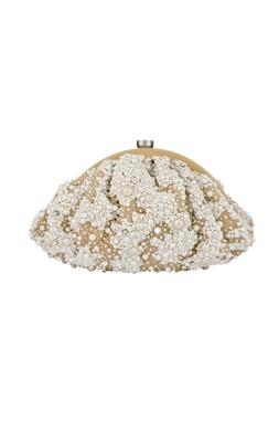 Beige pearl embellished clutch