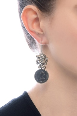 Silver plated drop earrings with ghungroos & coin