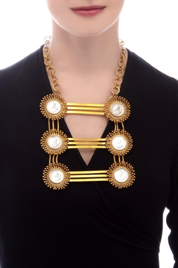 Gold plated layered statement necklace