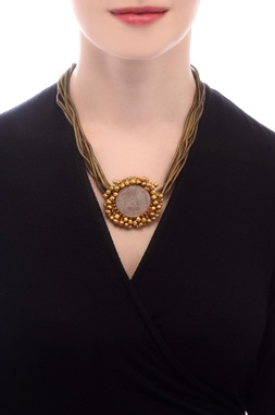 Bronze necklace with gold plated pendant