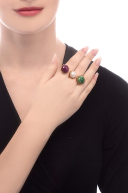 Gold plated two finger ring with semi-precious stones