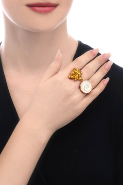 Gold plated ring with cluster of ghungroos & vintage coins