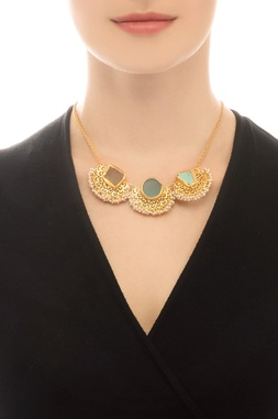 Gold plated statement necklace with semi-precious stone