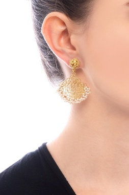 Gold plated filigree cutwork danglers