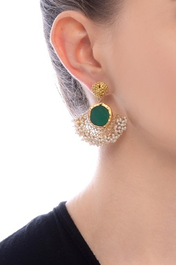 Gold plated danglers with and emerald semi-precious stone