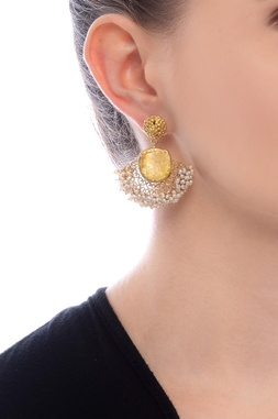 Gold plated danglers with citrine semi-precious stone