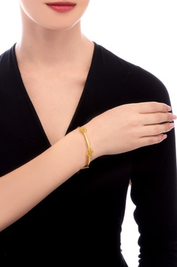 Gold plated filigree design bangle