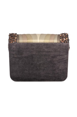 Grey sequin embellished shaded clutch