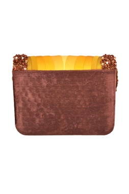 Brown & yellow sequin embellished shaded clutch