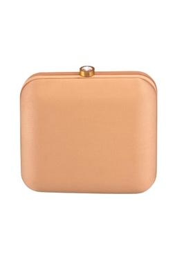 Orange lehenga print box clutch