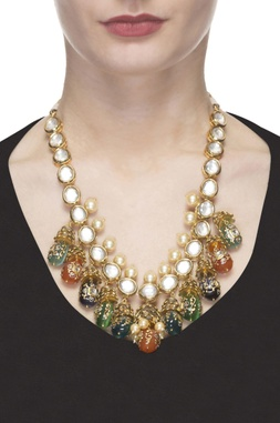 Gold plated kundan necklace with multi colored stones