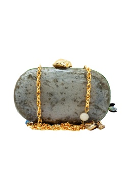 Bug embroidered light grey & green clutch