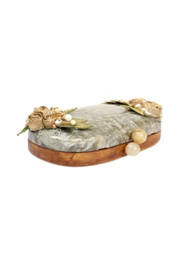 Brown & ivory wooden clutch with resin