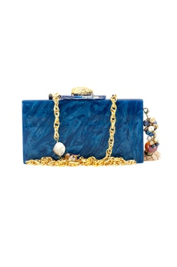 Gold & blue wooden clutch with lasercut design
