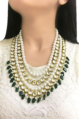 Gold plated multi-layered kundan necklace