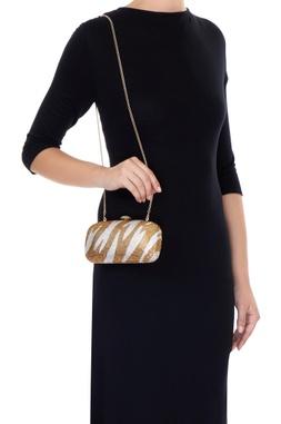 White & gold shaded metal sling bag