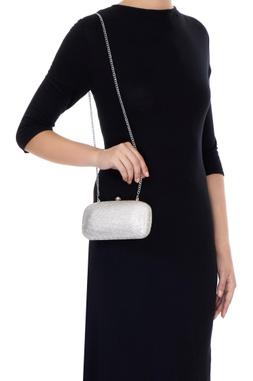 White metal box sling bag
