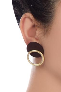 Wood & metal gold stud earrings