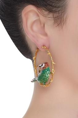 Hoop Bird Earrings