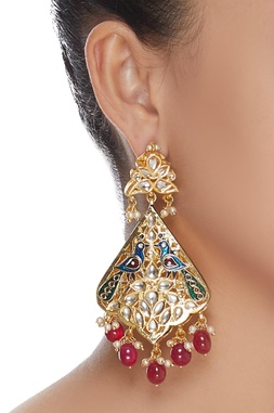 Bead kundan peacock earrings