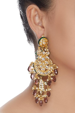 Chandbali style kundan earrings