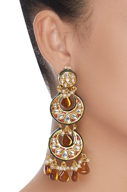 Layered kundan chandbali earrings