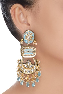 Bead kundan chandbali earrings
