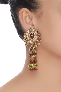 Layered kundan jhumka earrings
