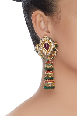 Kundan layered jhumka earrings