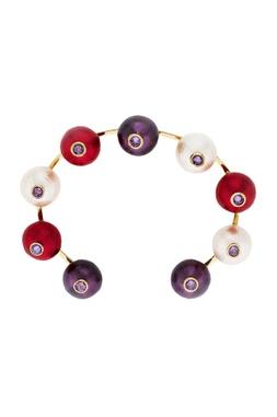 Multicolored pearls handcrafted cuff bangle