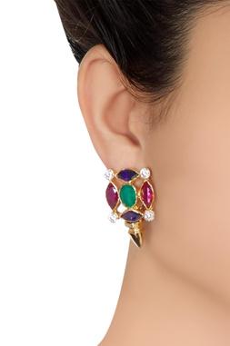 Multicolored stone circular stud earrings