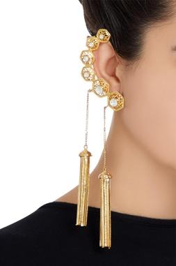Cuff style dangling tassel earrings