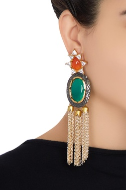 Long dangling earrings with colored stones & tassel chains