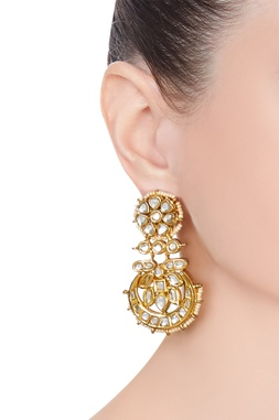 Chand bali pearl & kundan earrings