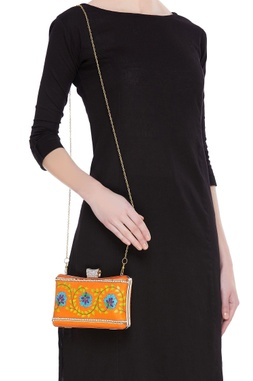 Floral motifs embroidered box clutch
