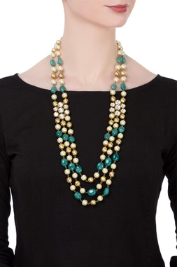 Pearl & turquoise stone embellished tiered necklace