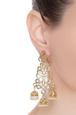 Dainty pearl jhumkas earrings