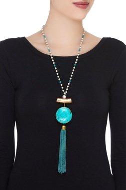Pearl & tassel beaded pendant necklace
