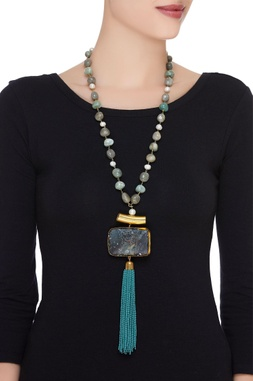 Onyx & tassel beaded long necklace